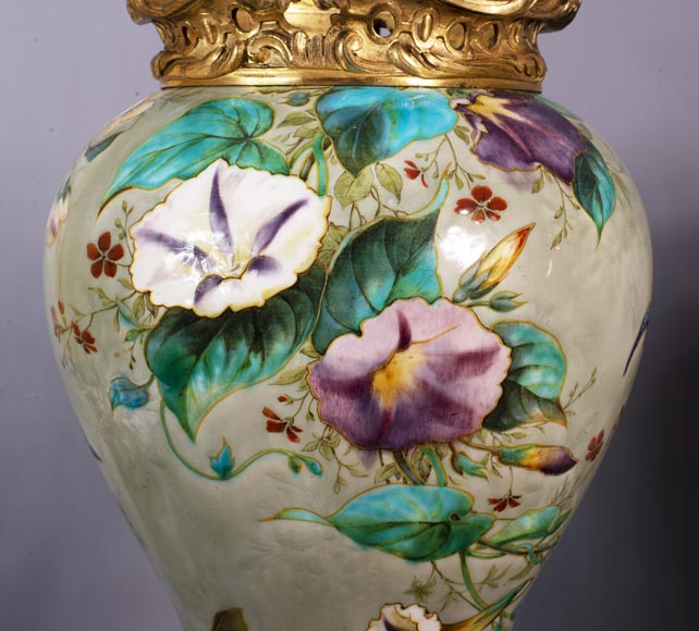 Théodore DECK (1823-1891) - Pair of polychrome glazed earthenware vases-6