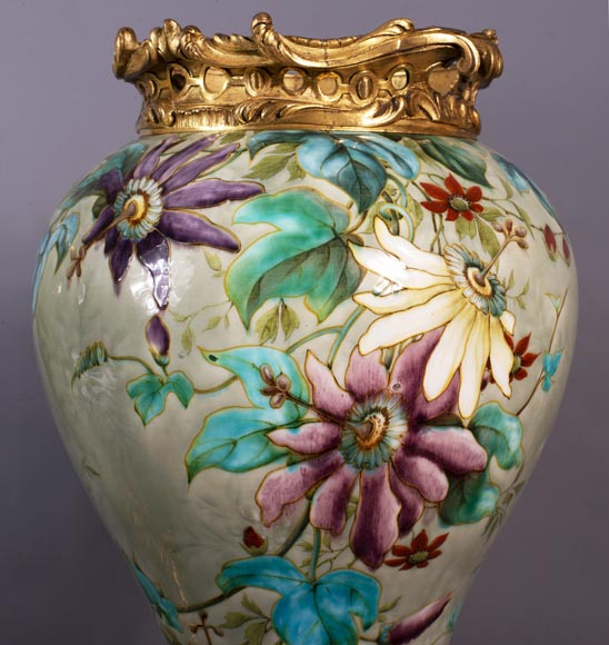 Théodore DECK (1823-1891) - Pair of polychrome glazed earthenware vases-7