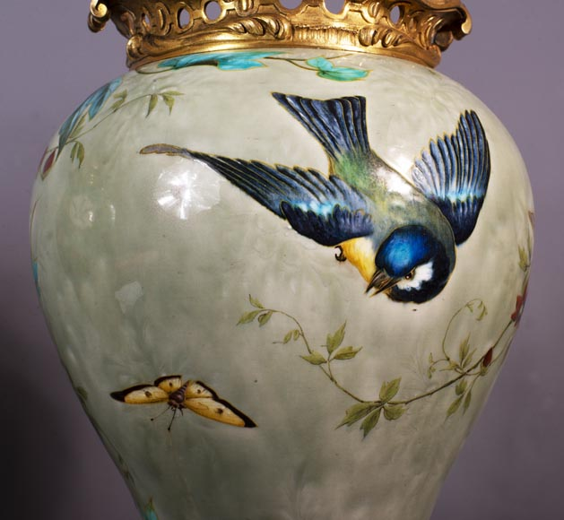 Théodore DECK (1823-1891) - Pair of polychrome glazed earthenware vases-8