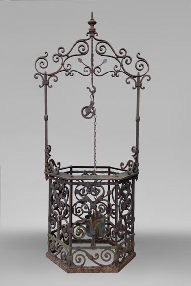 Rare antique 19th century well in cast iron and wrought iron-0