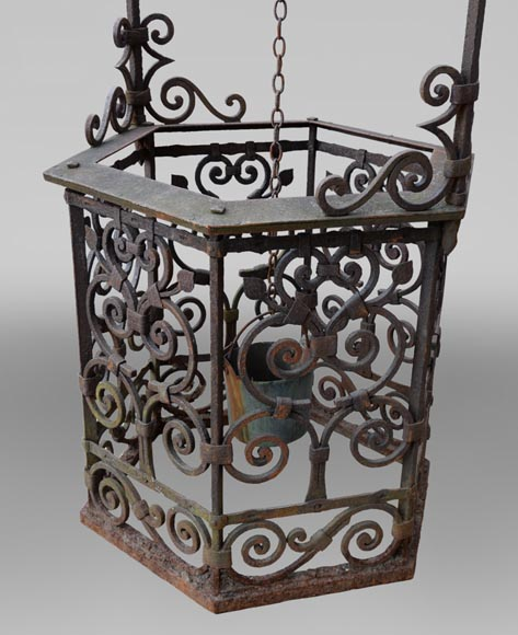 Rare antique 19th century well in cast iron and wrought iron-5