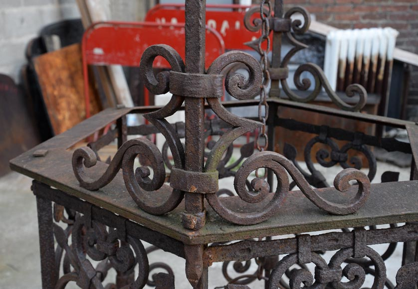 Rare antique 19th century well in cast iron and wrought iron-6