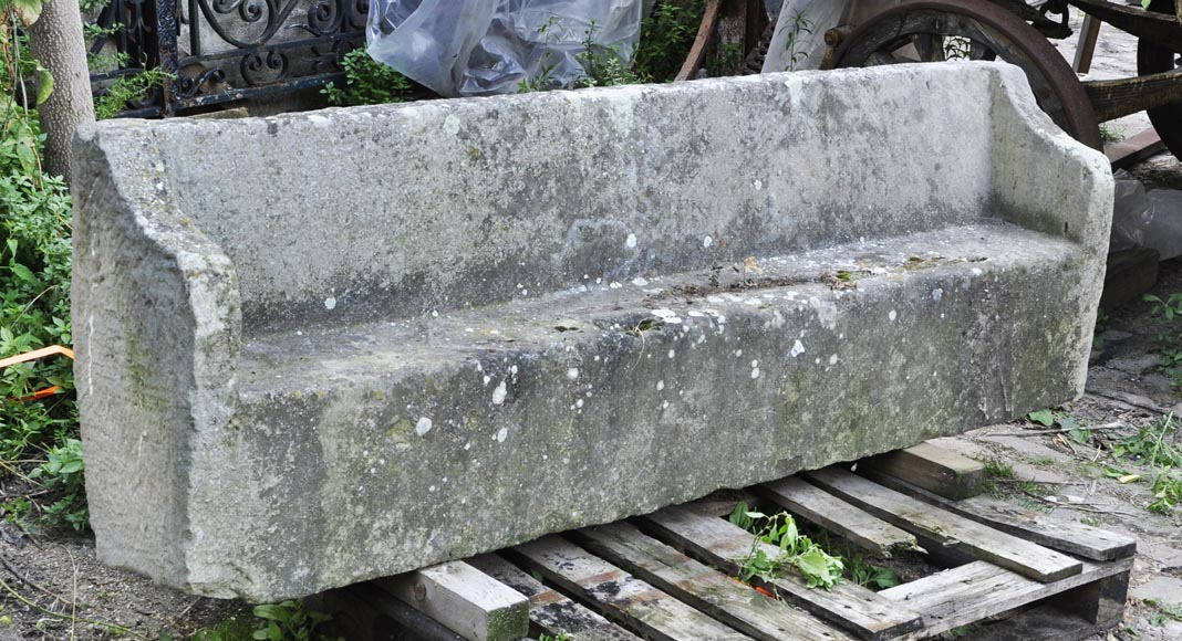 Antique stone garden bench-1