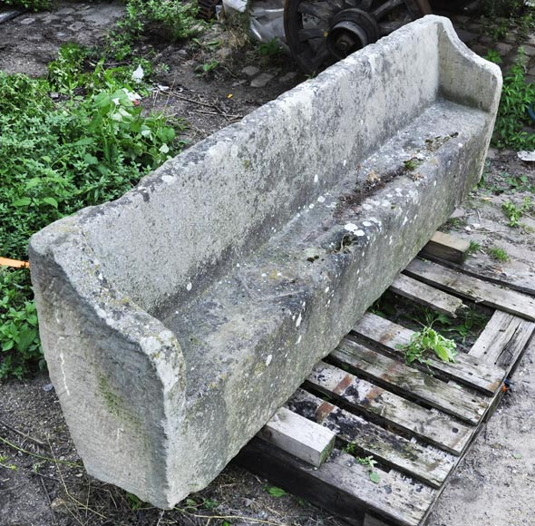 Antique stone garden bench-5