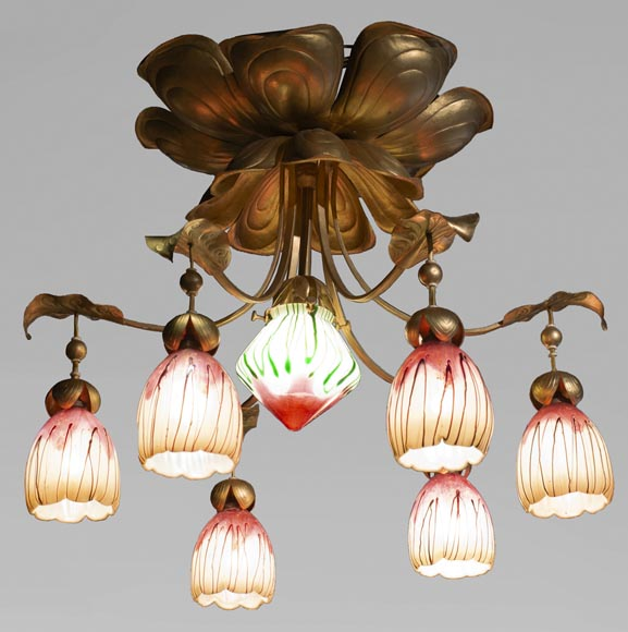 Antique chandelier in Art Nouveau style with seven lights-0