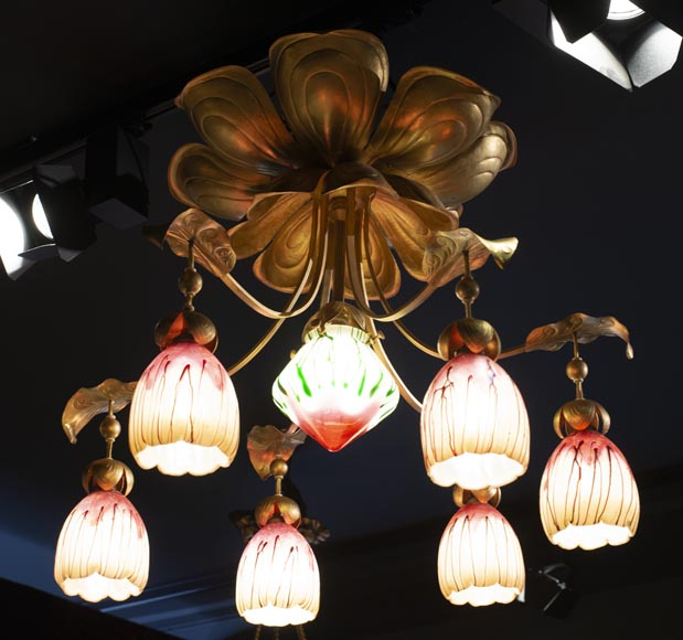 Antique chandelier in Art Nouveau style with seven lights-1