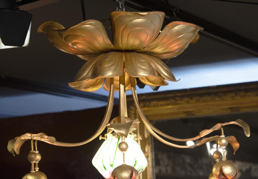 Antique chandelier in Art Nouveau style with seven lights-2