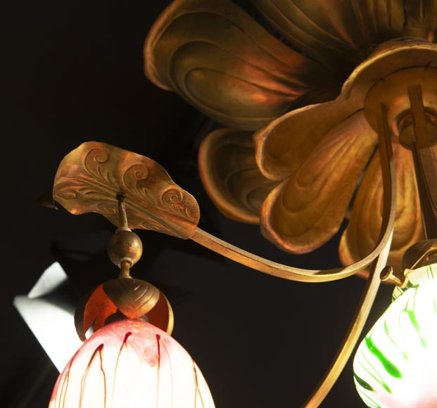 Antique chandelier in Art Nouveau style with seven lights-3