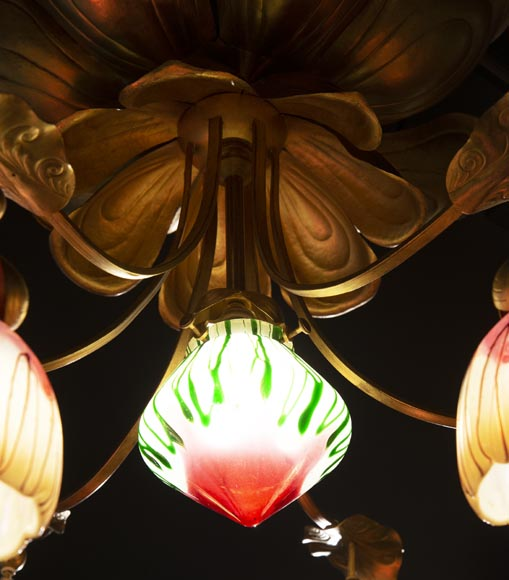 Antique chandelier in Art Nouveau style with seven lights-4