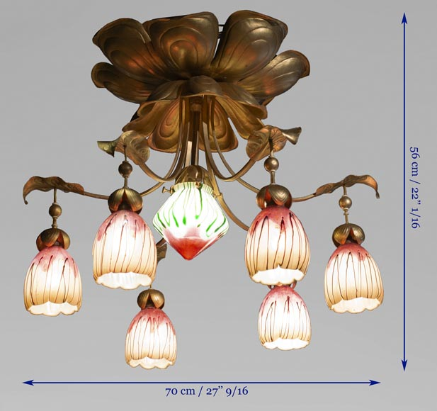 Antique chandelier in Art Nouveau style with seven lights-8