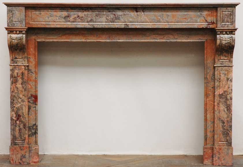 Modillon mantel in Rose Enjugerais marble, 19th century-0