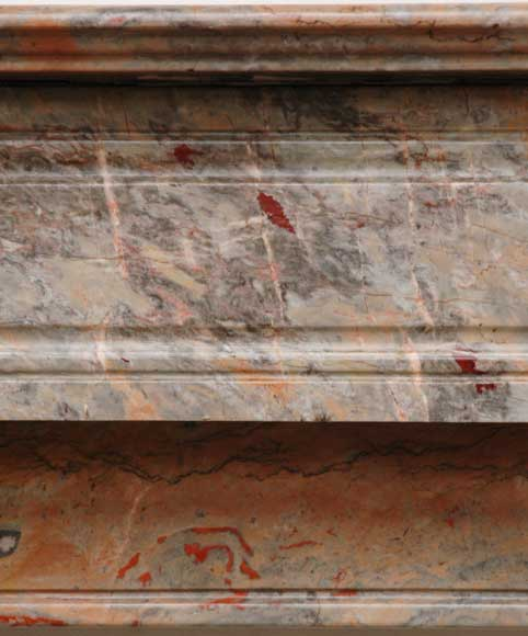 Modillon mantel in Rose Enjugerais marble, 19th century-1