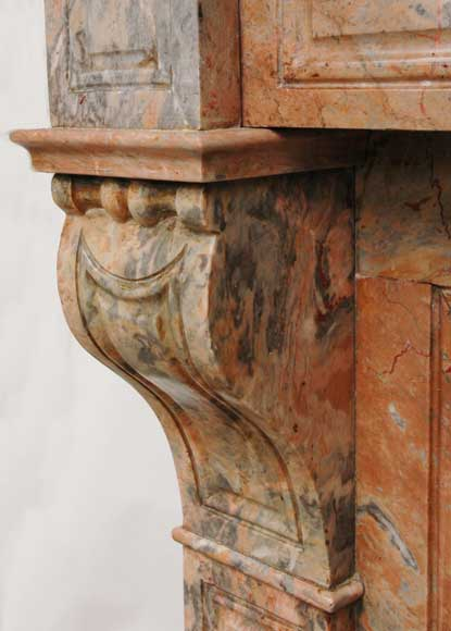 Modillon mantel in Rose Enjugerais marble, 19th century-5