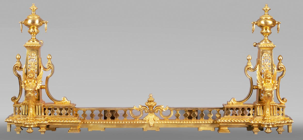 Antique fire fender in the Napoleon III style with griffins-0