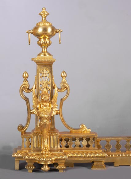 Antique fire fender in the Napoleon III style with griffins-1