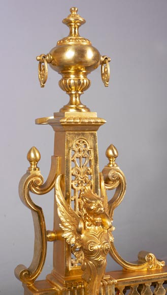Antique fire fender in the Napoleon III style with griffins-2