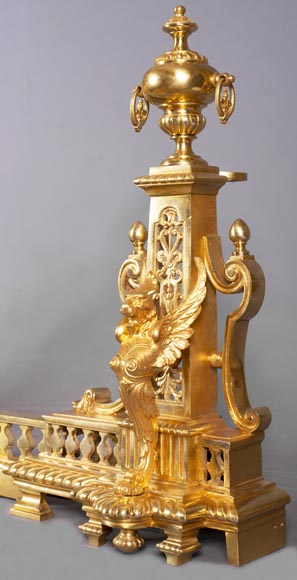 Antique fire fender in the Napoleon III style with griffins-5