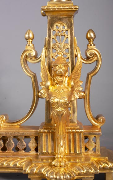 Antique fire fender in the Napoleon III style with griffins-6
