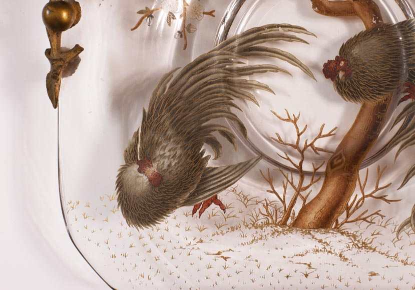 Eugène ROUSSEAU (att. to) and ESCALIER DE CRISTAL - Crystal cup decorated with roosters-4