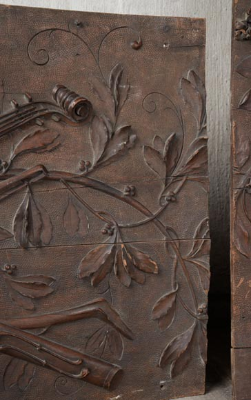Set of three antiques carved walnut decorative panels with attributes of the Arts-7