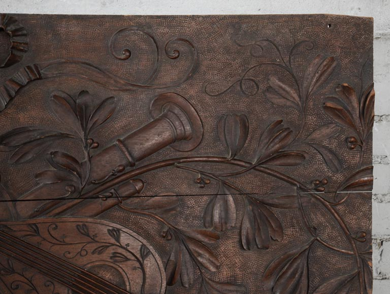 Set of three antiques carved walnut decorative panels with attributes of the Arts-10