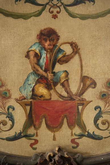Trumeau decorated with an oil on canvas depicting a musician monkey-2