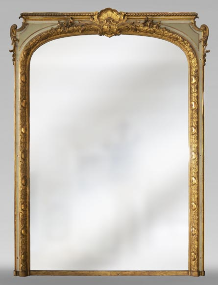 Trumeau with a rounded mirror decorated with a shell and a Regency frieze-0