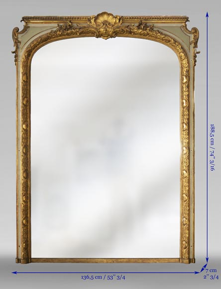 Trumeau with a rounded mirror decorated with a shell and a Regency frieze-7