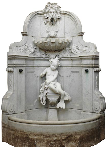 Monumental Garden Fountain in Carrara marble and Statuary marble attributed to Rudolf Weyr, Vienna, late 19th century-0
