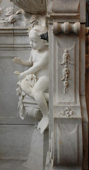Monumental Garden Fountain in Carrara marble and Statuary marble attributed to Rudolf Weyr, Vienna, late 19th century