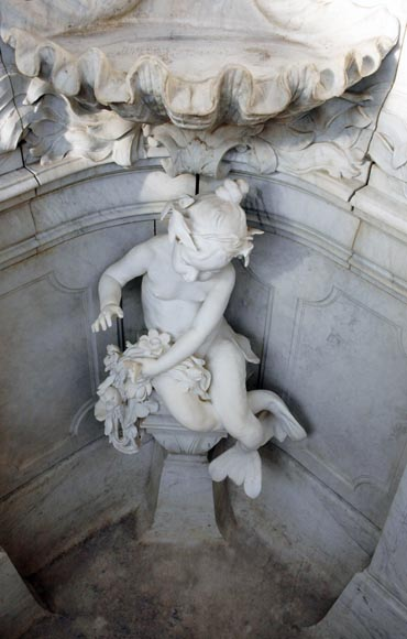 Monumental Garden Fountain in Carrara marble and Statuary marble attributed to Rudolf Weyr, Vienna, late 19th century-8