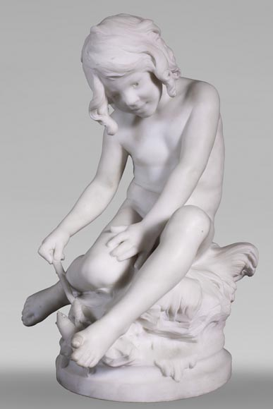 Auguste MOREAU (1834-1917) - Child playing with a crayfish in statuary marble-0