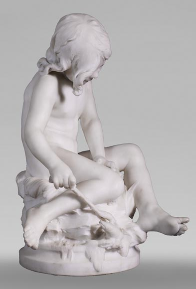Auguste MOREAU (1834-1917) - Child playing with a crayfish in statuary marble-1
