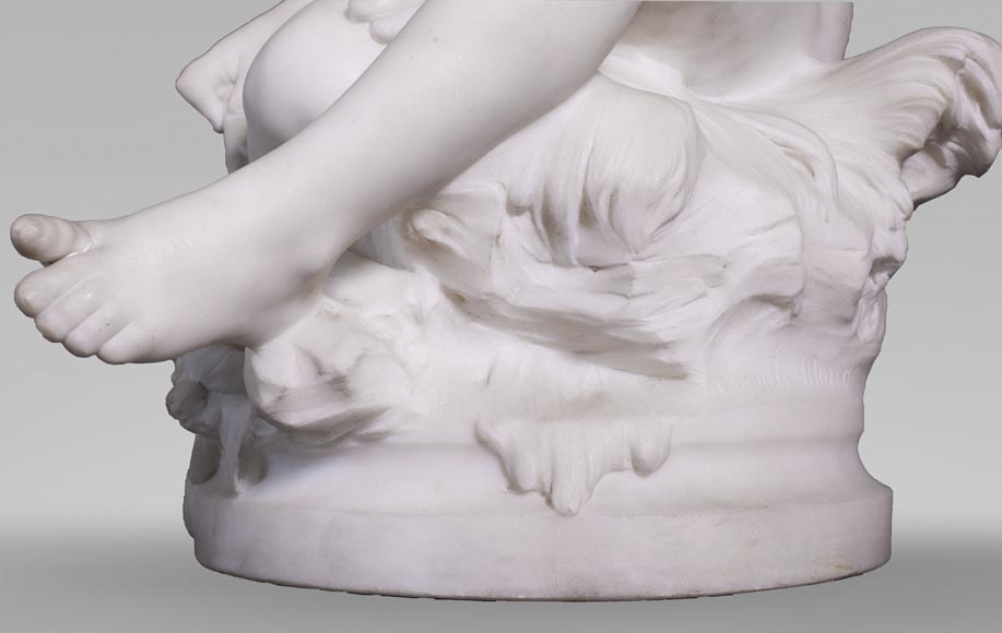 Auguste MOREAU (1834-1917) - Child playing with a crayfish in statuary marble-5