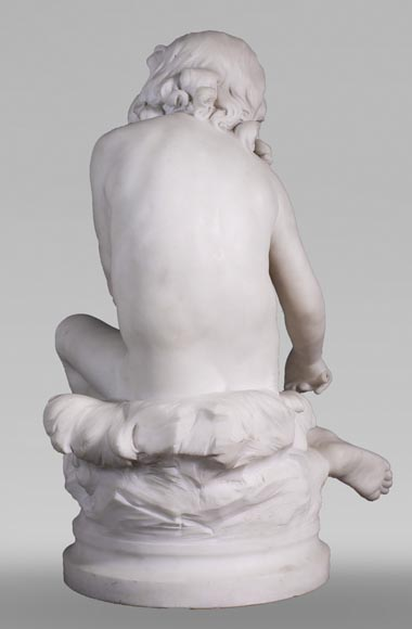 Auguste MOREAU (1834-1917) - Child playing with a crayfish in statuary marble-6