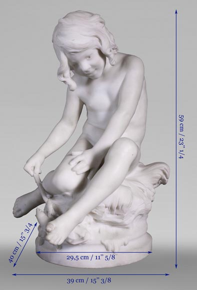 Auguste MOREAU (1834-1917) - Child playing with a crayfish in statuary marble-9