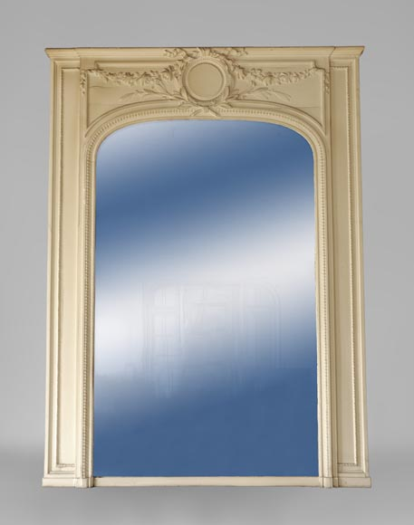 Antique Louis XVI style pierglass mirror in painted stucco-0