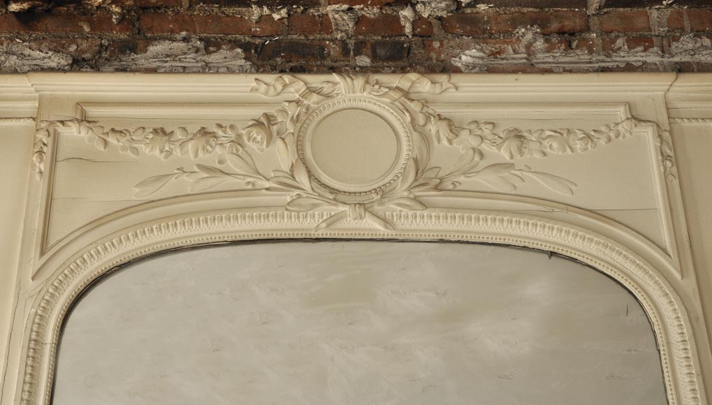 Antique Louis XVI style pierglass mirror in painted stucco-1