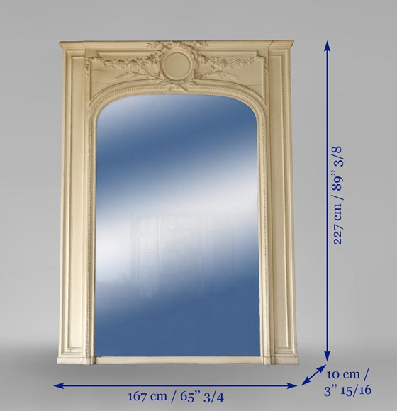 Antique Louis XVI style pierglass mirror in painted stucco-5