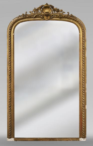 Gilded Louis XV style trumeau decorated with a beautiful shell-0