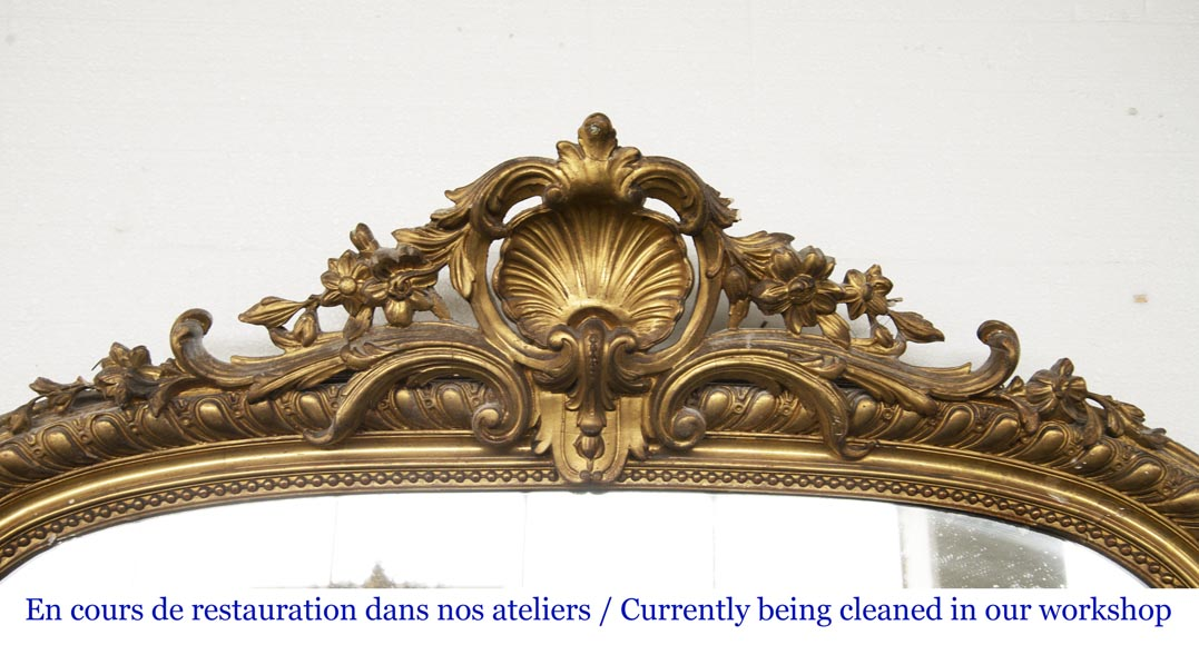 Gilded Louis XV style trumeau decorated with a beautiful shell-1