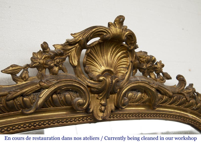Gilded Louis XV style trumeau decorated with a beautiful shell-2