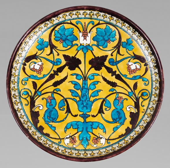 Théodore DECK (1823-1891) - Round ceramic dish with oriental decoration of a vase of flowers and foliage on yellow background-0