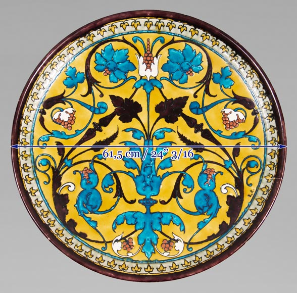 Théodore DECK (1823-1891) - Round ceramic dish with oriental decoration of a vase of flowers and foliage on yellow background-8