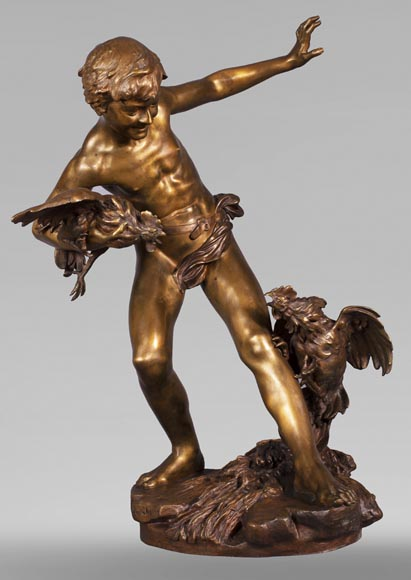 aul Romain CHEVRÉ (1866-1914) - Le combat de coqs, bronze with golden patina-0