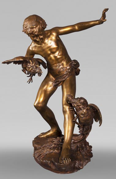 aul Romain CHEVRÉ (1866-1914) - Le combat de coqs, bronze with golden patina-1