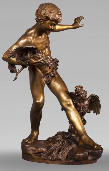 aul Romain CHEVRÉ (1866-1914) - Le combat de coqs, bronze with golden patina-2