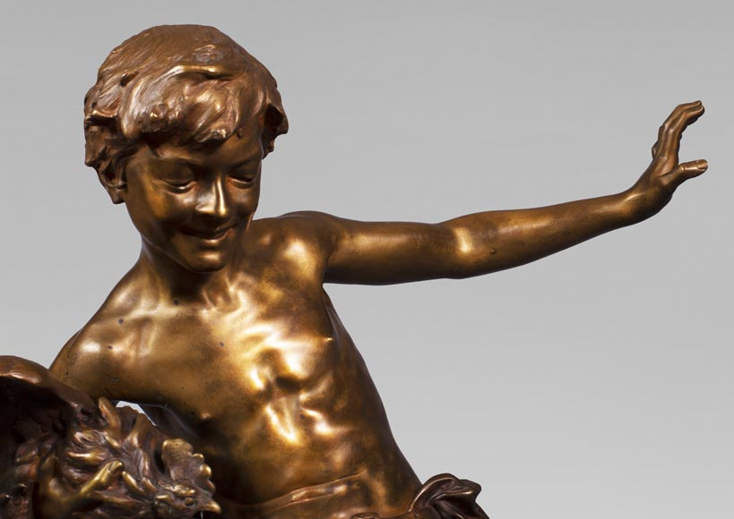 aul Romain CHEVRÉ (1866-1914) - Le combat de coqs, bronze with golden patina-3
