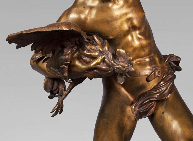 aul Romain CHEVRÉ (1866-1914) - Le combat de coqs, bronze with golden patina-4