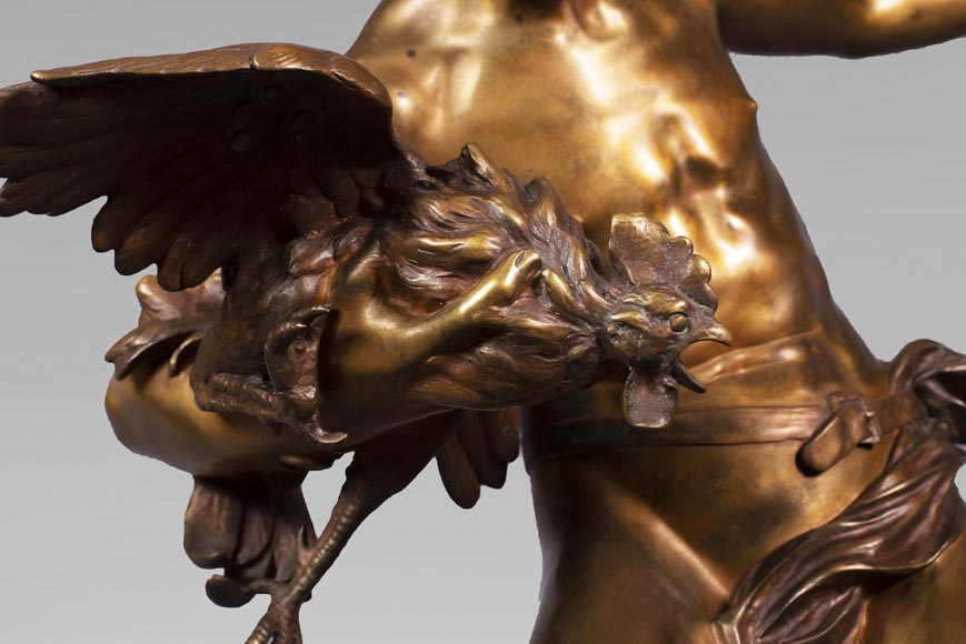 aul Romain CHEVRÉ (1866-1914) - Le combat de coqs, bronze with golden patina-5